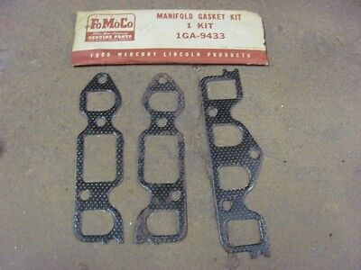 NOS 49 50 51 Ford 226 Engine Manifold Gasket Kit 1GA-9433 1949 1950 1951