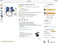Tiger junior 5 piece drum kit - blue