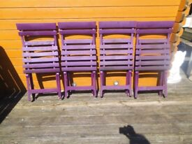 Purple GARDEN FURNITURE - 4 x chairs and table - Used shed find bargain ideal for caravan or bbq