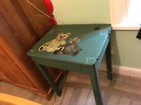 Children's writing desk. Old fashioned school desk table