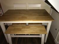 Dining table with bench & two chairs