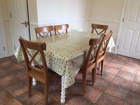 Oak Kitchen Table and Six Oak Chairs