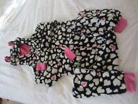 Girl's thick onesie, 15yrs, black/white/pink