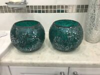 X2 'next' large teal glass bowls