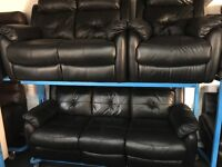 New/Ex Display LazyBoy Black Leather 2 Seater Recliner + 3 Seater Recliner + 1 Seater Recliner Chair