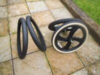USED BLACK BMX MAG WHEELS WITH 4 X OLD SCHOOL TYRES - IDEAL FOR BMX BUILD 10mm CHEAP BIKE