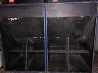 2 x Unloaded 1850 Folded Horn Bass Bins Speakers
