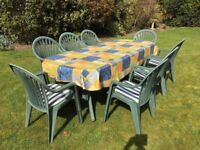 Grosfillex Garden Table and Eight Chairs with Cushions and Vinyl Table Cover