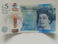 Genuine new Bank of England £5 polymer five pound note: AK47 777187