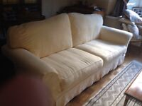 Three piece suite +footstool yello. Removable coverExcellent conditions
