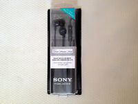 SONY DR-EX12iP InEar Stereo Headphones+Mic and Remote Black for iPod iPhone iPad(BRAND NEW)