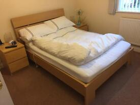 "Birch / pale oak effect wood framed 4' 6"" double bed with mattress"