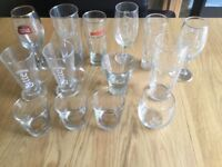 Large collection of over 45 wine, beer and short glasses