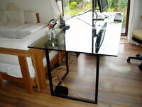 Glass topped table, 2000mm x 900mm x 732 high