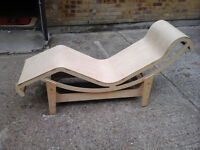 Unusual light wooden chaise long chair