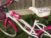 "Beautiful Hello Kitty bike 20"" 5-9 white pink stand bottle bell basket"