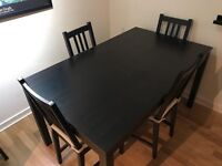 Dining Table for 4, solid black wood BJURSTA with 4 BORJE chairs including cushions