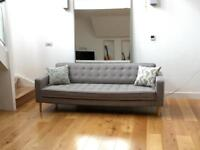 Chic and Comfy Mid-century Modern Grey Sofa - Fab condition