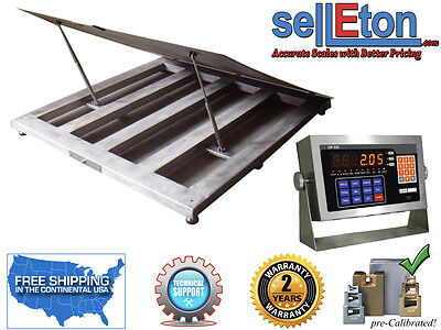 New 48 X 48 4 Lift-up Top Stainless Steel Washdown Floor Scales 5000 Lbs
