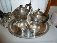 Viners silver-plate tea pot, hot water sugar bowl milk jug & Tray
