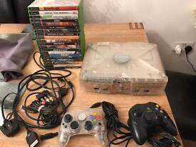 Xbox Original Crystal Clear console with 19 games