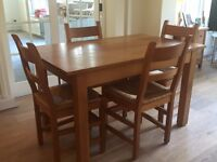 Handmade, solid oak table and four chairs