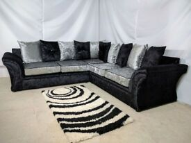 BRAND NEW VELVET VEGAS CORNER SOFA OR 3+2 SUITES ON A SPECIAL OFFER WITH 1 YEAR WARRANTY!!!