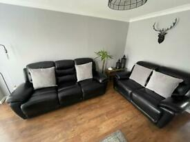 Black Leather DFS Manual Recliner Sofa - 3 & 2 seaters. £800 ono