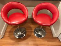 Red retro adjustable diner faux leather kitchen chairs bar stool