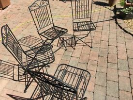 Set of 4 Garden Chairs Wrought Iron