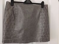 Metallic Faux Leather Skirt - Size 16