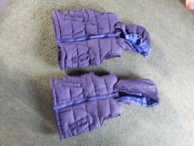 Two dark blue body warmers aged 12-18 months