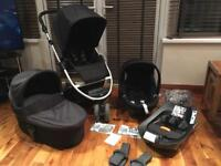 Mama & Papas Zoom Travel System Pram/buggy, Cybex car seat and Cybex Isofix Base