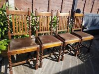 """Four matching """"Barley twist"""" dining chairs, believed to be pre war in OK condition considering age"""