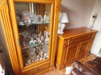 Beautiful Italian Solid Wood Cabinet and 3 shelf Glass Desplay Cabinet with light