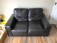 Brown faux leather sofas x2