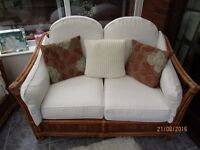 Cane conservatory furniture. 2 chairs and 2 seater settee.