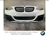 2016 - 20 BMW 2 SERIES M240i/M235i PERFORMANCE F22 F23 LCI - FRONT BUMPER (#J27)