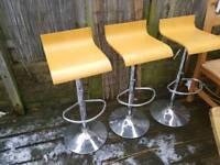 3 X beech gas lift bar stools