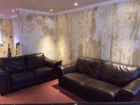 Brown leather matching 2 and 3 seater sofas