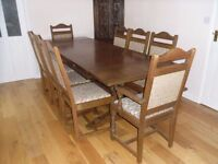 old charm extending table and chairs and court cupboard in medium oak
