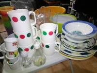 Various melamine cups and plates