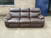 brown leather fully reclining 3 seater sofa