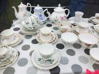 Job lot of vintage china/ideal for wedding or tea party