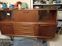 Handsome vintage retro 70s teak sideboard with drinks cabinet, cutlery draw