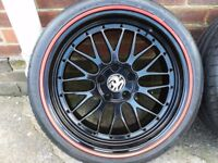 """19"""" BLACK POWDER COATED DEEP DISH WHEELS WITH 2 NEW & VGC TYRES INC RED GATORS"""