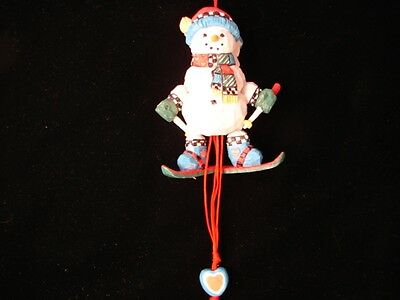 Christmas Snowman Sking Ornament ~ Movable Arms and Legs Snowman Ornament