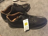 Marks and spencer leather lace up trainers, black, size 10 UK, brand new