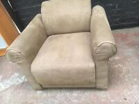 As new beautiful suede club arm chair