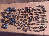 Job Lot Hydraulic Pipe Connectors BSP Reusable Ect 2 Wire New & Some Used Vintage Tractors Ect